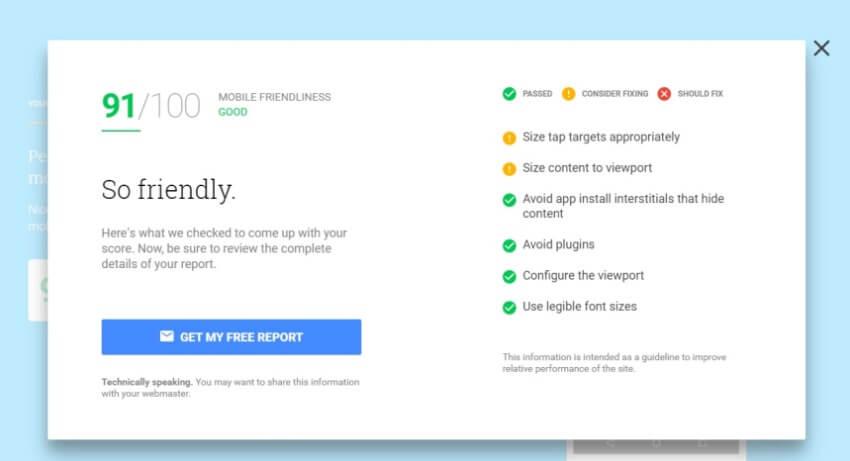 Инструмент от Google для проверки скорости работы сайта и его mobile-friendly